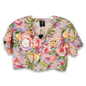 NEW LF The Brand Hawaiian Shirt Cropped Button Up